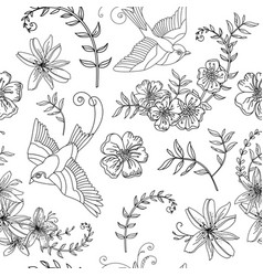 seamless pattern bird and flower vector image