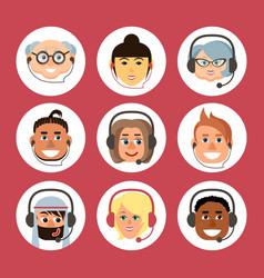 set cartoon avatars men and women of vector image