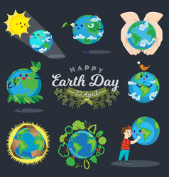 set for earth day happy boy hugging planet vector image