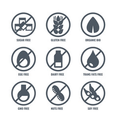 Set of icons with sign meaning absence of sugar vector