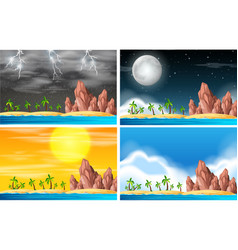 set of island scene in different weather vector image
