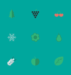 set of simple garden icons elements wine sheet vector image