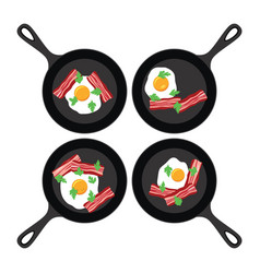 Set pans with fried eggs and bacon vector