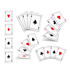 Several variants set of four aces deck of cards vector