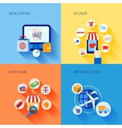 Shopping e-commerce icons set flat vector