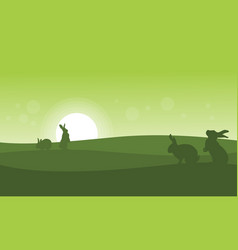 Silhouette of rabbit at sunrise vector
