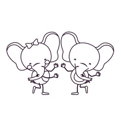 Sketch contour caricature with couple of elephants vector