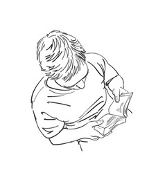 Sketch man reading book view from above hand vector