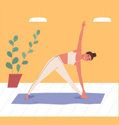 smiling woman practicing body stretching at gym vector image
