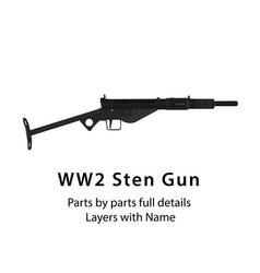 Sten gun british world war ii submachine gun vector