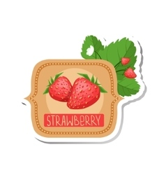 Strawberry Bright Color Jam Label Sticker Template vector