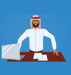 successful arab business man working at laptop vector image