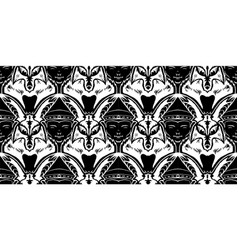 Tessellation with fox and buddha faces in black vector