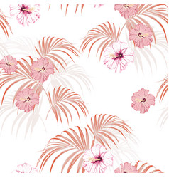tropical leaves and paradise hibiscus flowers vector image
