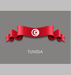 Tunisian flag wavy ribbon background vector