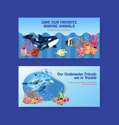 Twitter template design for world oceans day vector
