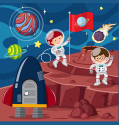 two astronauts and rocket on the planet vector image