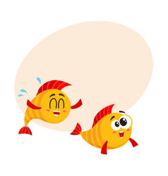 Two funny smiling crazy golden fish characters vector