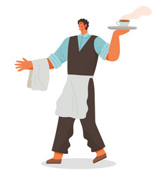 Waiter serving clients carrying tray with order vector