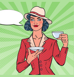 woman drinking morning tea in cafe pop art vector image
