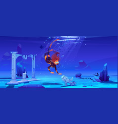 Woman scuba diver and sunken ancient city in sea vector