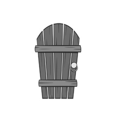 Wooden garden door icon black monochrome style vector
