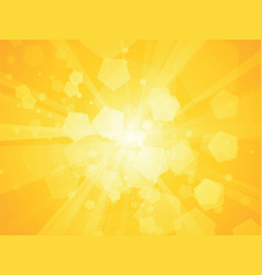 yellow geometric polygon background sun rays vector image