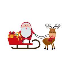 cute santa claus sled gifts christmas character vector image