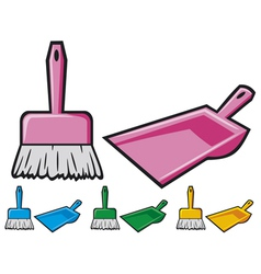 dustpan and sweeping brush vector image vector image