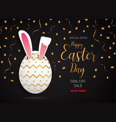 happy easter day design gold egg banner and vector image vector image