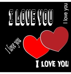 Heart two with quote I love you vector image vector image
