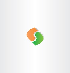 letter s green orange logo icon vector image vector image