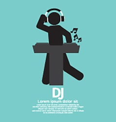 Black Symbol Disc Jockey vector image