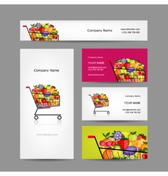 Business cards design trolley with fruits vector image