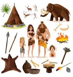 cavemen decorative icons set vector image