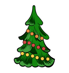 christmas tree icon cartoon vector image vector image
