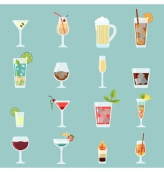 Cocktails icon set vector image