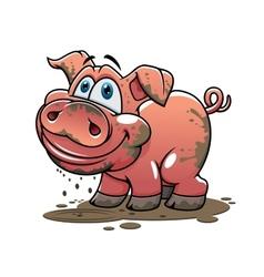Cute little muddy cartoon pig vector image