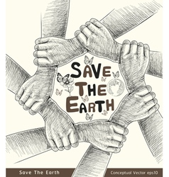 Hands save the earth drawing conceptual vector image