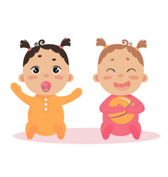 newborn baby girl twins sitting together vector image vector image
