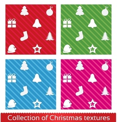 Seamless christmas texture pattern set vector image vector image