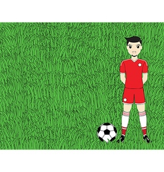 Soccer player with ball on football stadium field vector image