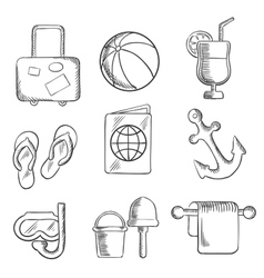 Summer vacation and travel sketched icons vector image