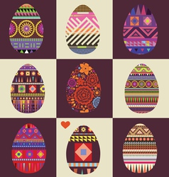 card with big collection of Easter eggs vector image vector image