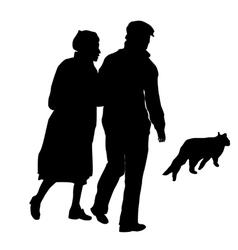 elderly couple with a cat vector image vector image