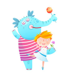 little girl and pet elephant dancing friends vector image