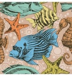 Marine life seamless pattern vector image vector image