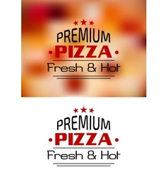 Premium Pizza Fresh and Hot poster design vector image
