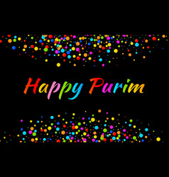 purim carnival text with colorful paper confetti vector image vector image