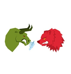 Red Bear and green bull Traders on stock exchange vector image